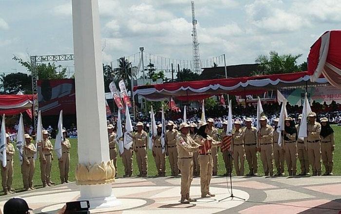Penutupan Kirab Pemuda Nusantara 2017 digelar halaman kantor Pemerintah Kabupaten Blitar.