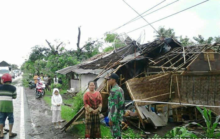 Jumlah Kerusakan Rumah Puting Beliung di Situbondo Bertambah
