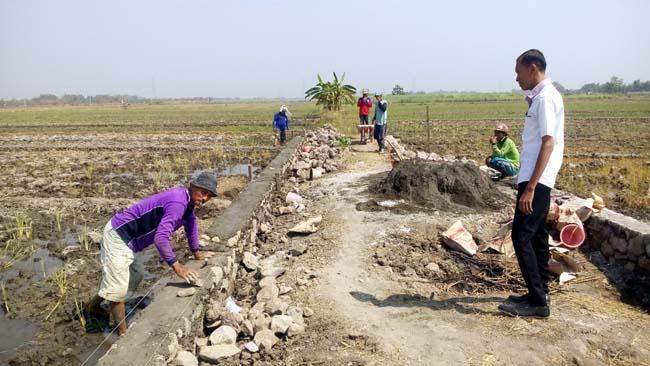 Sekretaris Desa Keper, Ardi Perdana S saat meninjau lokasi pengerjaan jalan baru (gus)