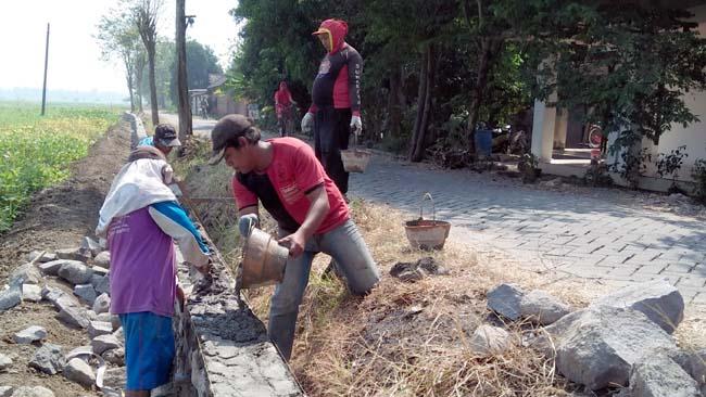 Pembangunan TPT ( Tembok Penahan Tanah ) di Desa Wonokalang. (par)