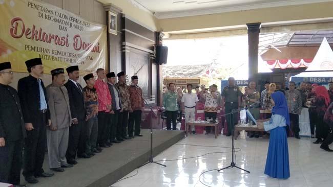 Sembilan Cakades di Kecamatan Junrejo Deklarasi Damai Sambut Pilkades Serentak 2019